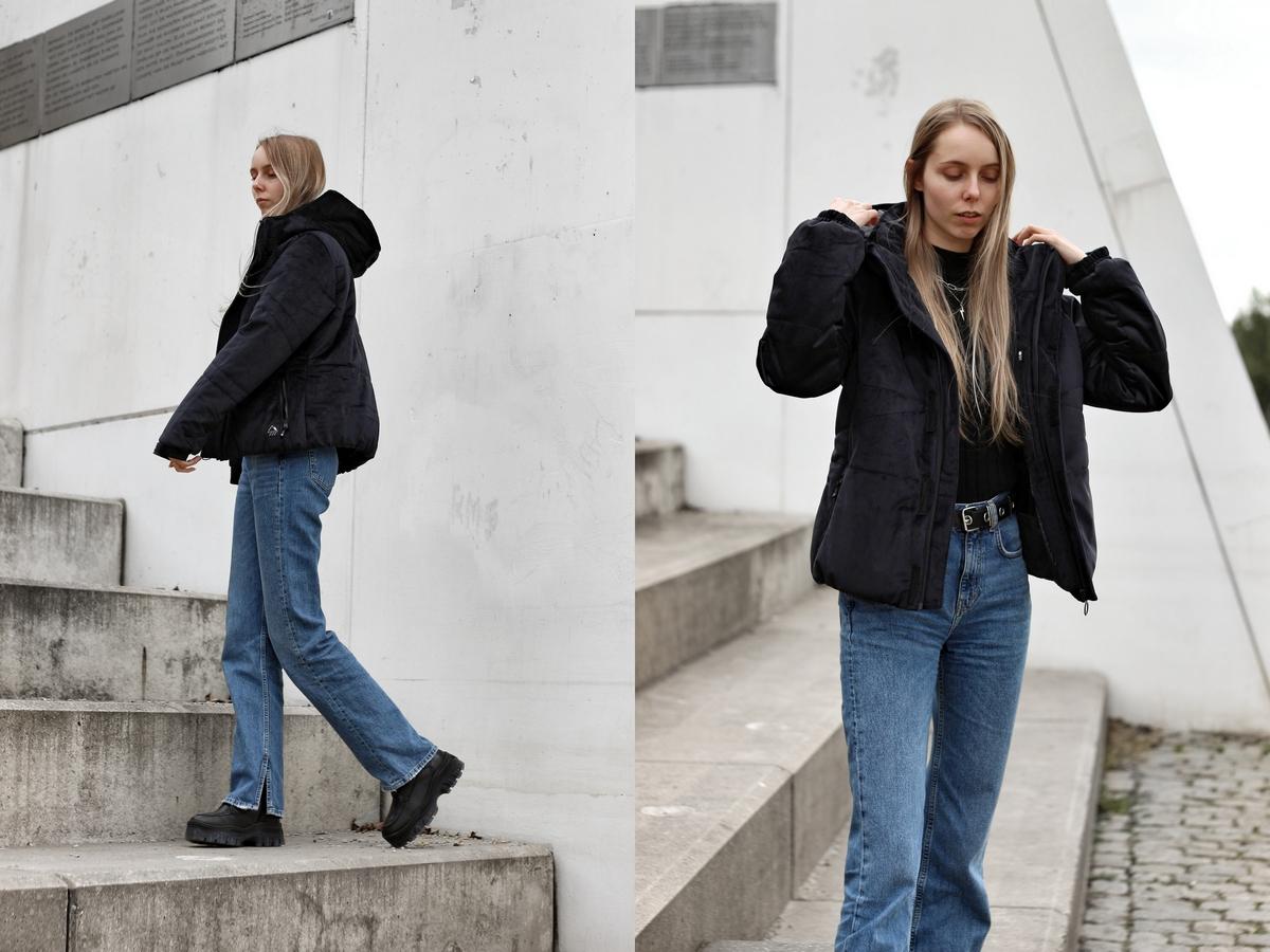 Waterdichte ski-jas zwart fluweel velvet puffer jacket diva protest sportswear winterjas wintersport kleding streetstyle fotografie nederlandse mode blogger doesburg