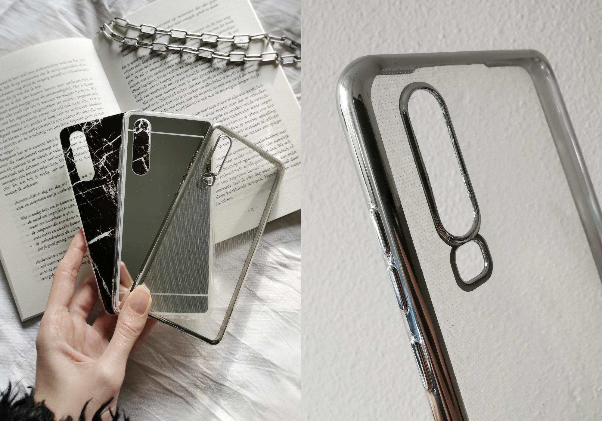 Hoesjes Outfit telefoonhoesje Huawei P30 softcase zwart marmer hoesje zilver spiegel effect doorzichtig met zilveren rand review trendy hoesjes