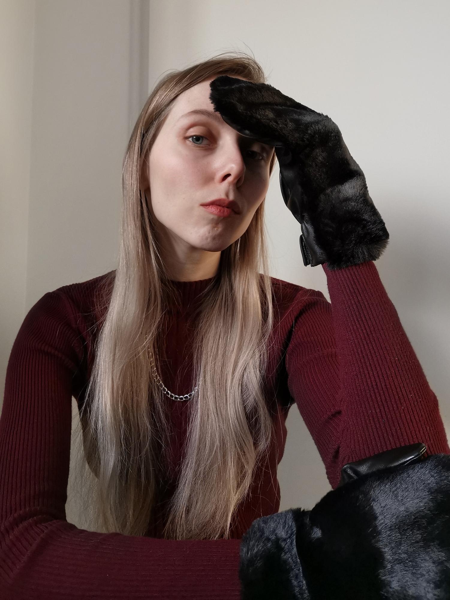 Frickin gloves handschoenen vegan leer eco leder imitatiebont fluffy wanten stijlvolle dames handschoen Lily nep leer mode blog