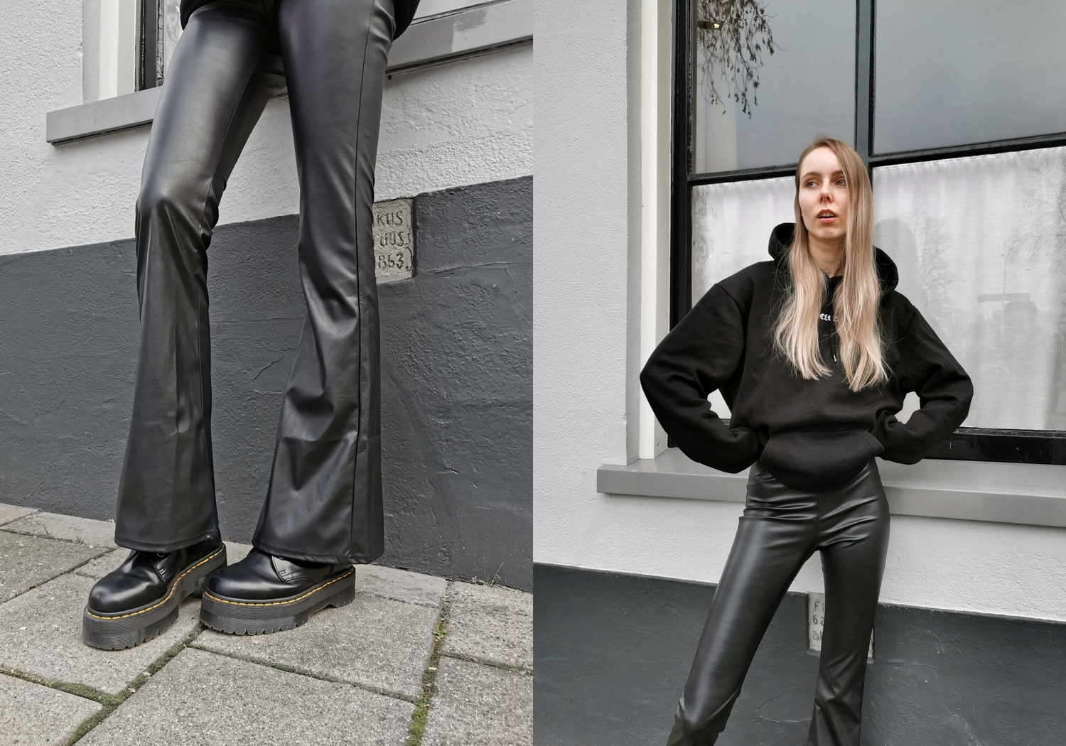 Make people stare leren broek leer leather flared pants come get fashion zwarte outfit mode blogger oversized hoodie trui careless wolf