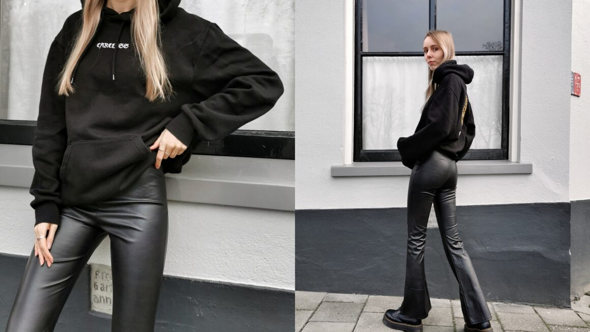 Outfit | Leather flared pants